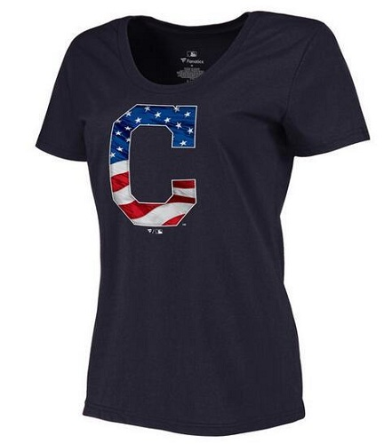 MLB Women's Cleveland Indians Navy Banner Wave Slim Fit T-Shirt