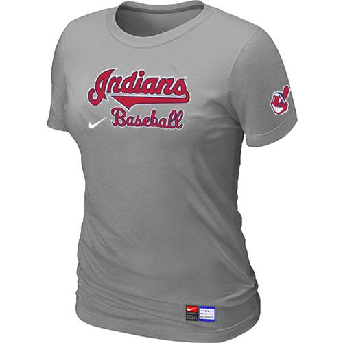 MLB Women's Cleveland Indians Nike Practice T-Shirt - Grey